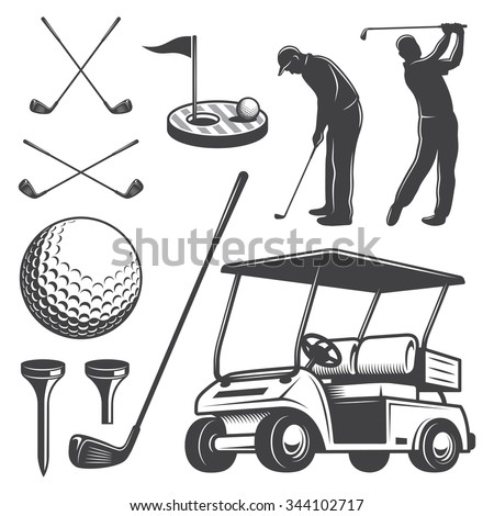 Set of vintage golf elements. Monochrome style