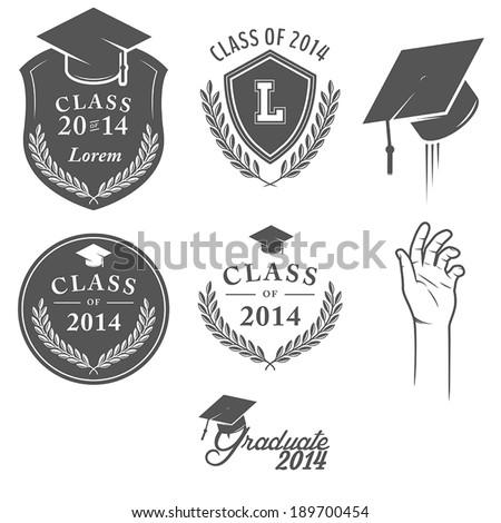 Set of vintage graduation labels, badges and design elements - stock vector