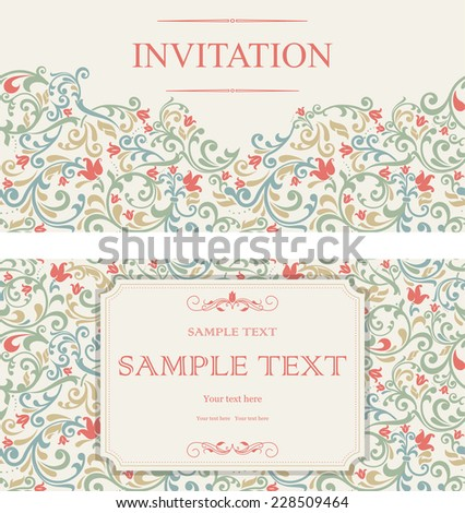 set of vintage greeting cards, invitation with floral ornaments, beautiful, luxury postcards