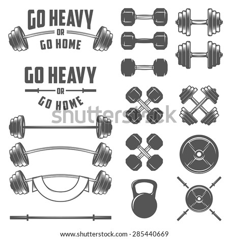 Set vintage gym equipment quotes design stock vector for Free gym layout design