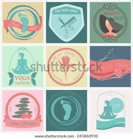 Set of vintage hairstyle, body care and cosmetology logos. Vector logo templates and badges  - stock vector