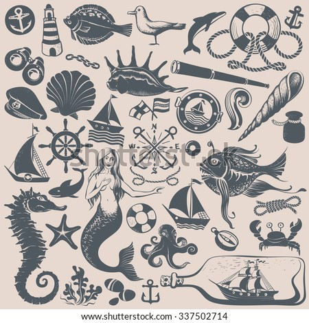 Set of Vintage Hand-drawing Nautical Illustrations and Icons - stock vector