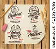 Set of vintage hand drawn farm logo with lettering elements on wood planks. Vector illustration