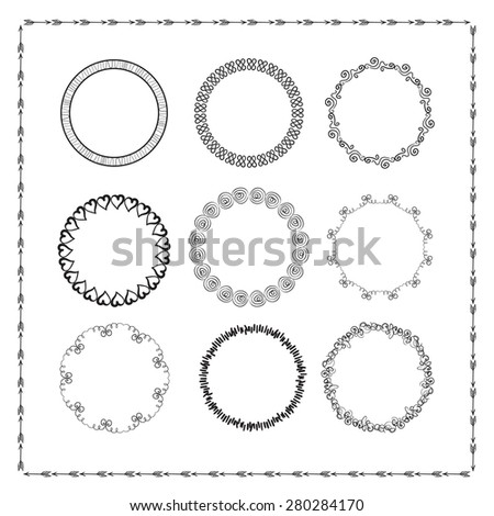 Set of vintage hand drawn frames - stock vector