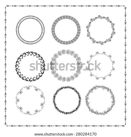 Set of vintage hand drawn frames - stock vector