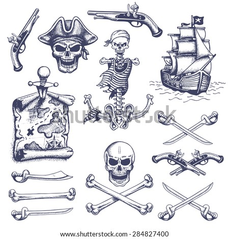 Set of vintage hand drawn pirates designed elements. Isolated. Doodle style. Proverbs. Layered. - stock vector