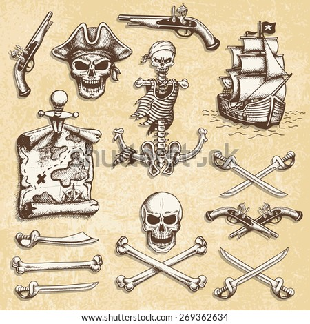 Set of vintage hand drawn pirates designed elements. Isolated with a scratched background. Doodle style