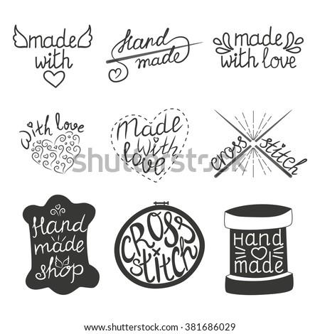 set vintage hand made logotypes design stock vector 381686029 shutterstock. Black Bedroom Furniture Sets. Home Design Ideas