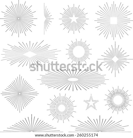 Set of vintage handdrawn sunbursts in different shapes - stock vector