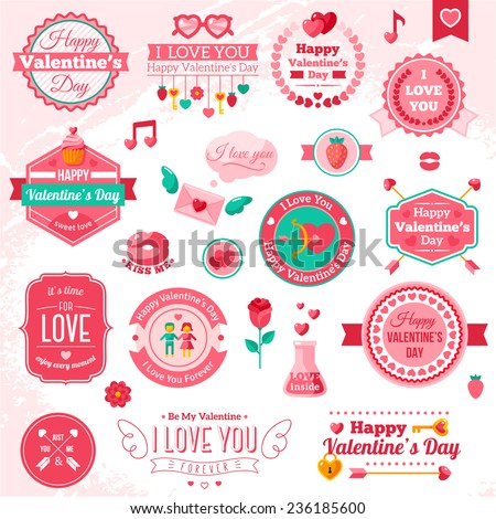 Set Of Vintage Happy Valentine's Day badges and labels - Typographical Background With Ornaments, Hearts, Ribbon and Arrow. I love you typography template. - stock vector