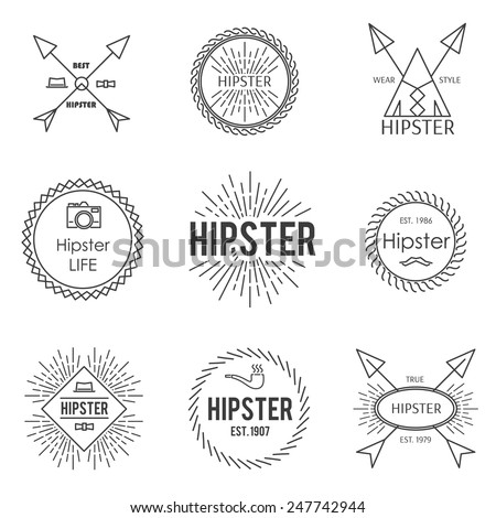 Set of vintage hipster badge label emblem in outline style - stock vector