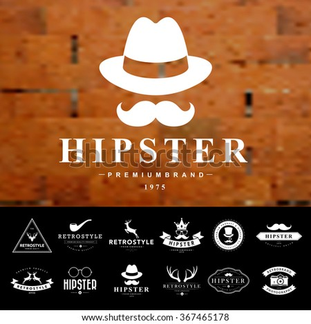 Set of vintage  hipster badges and labels - stock vector