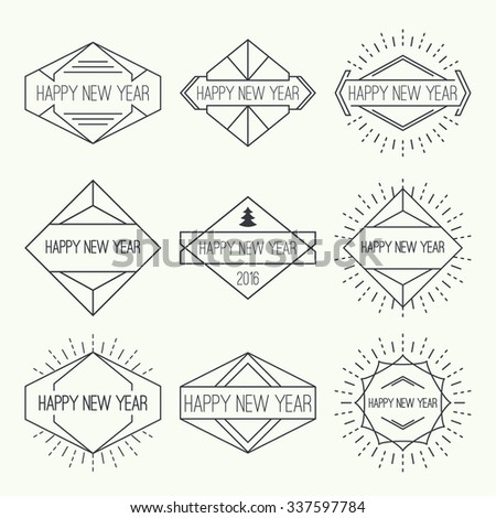 Set of vintage hipster banners, insignias, radial sunburst. Border and frame. Minimal design. Geometric Shapes and Light Ray Collection. Happy New Year - stock vector