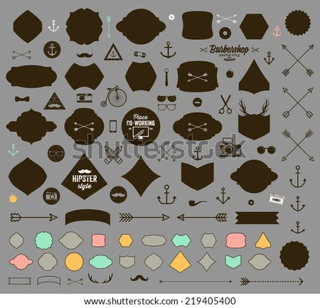 Set of Vintage Hipster Labels, Anchors, Arrows, Deer Antlers, Ribbons, Frames and Icons. Vector Retro Design Elements Collection. - stock vector