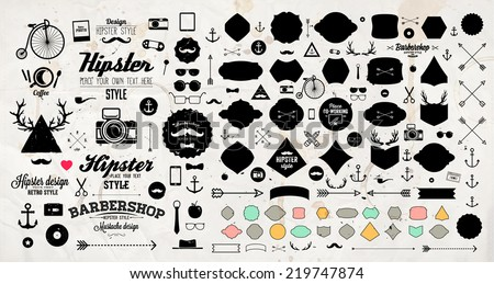 Set of Vintage Hipster Labels, Anchors, Arrows, Deer Antlers, Ribbons, Frames and Icons. Vector Retro Design Elements Collection. Old Paper Texture Background. - stock vector