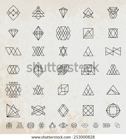 Set of Vintage Hipster Labels. Retro Borders Collection. Old Paper Texture Background. Sunburst and Light Ray Vector Elements. Graphic Eye, Arrows, Ribbons, Borders, Flowers and Frames. - stock vector