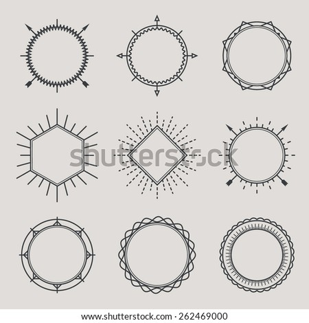 Set of Vintage Hipster Labels. Retro Borders Collection. Sunburst and Light Ray Vector Elements.  Vintage logo,  identity, labels, badges and objects design concept. - stock vector