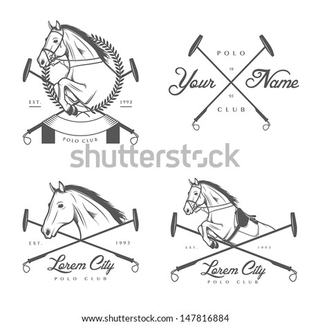 Set of vintage horse polo club labels and badges - stock vector