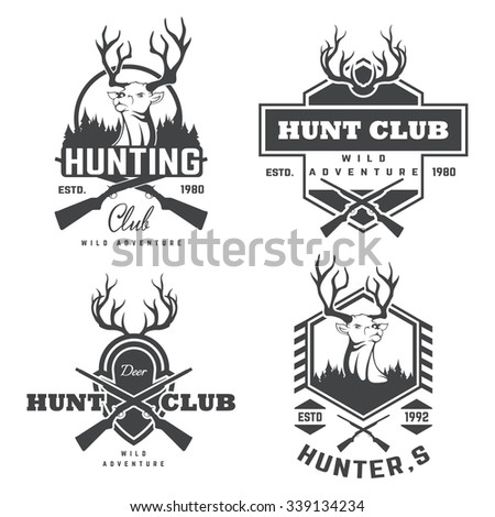 Set of vintage hunting and fishing labels and badges - stock vector
