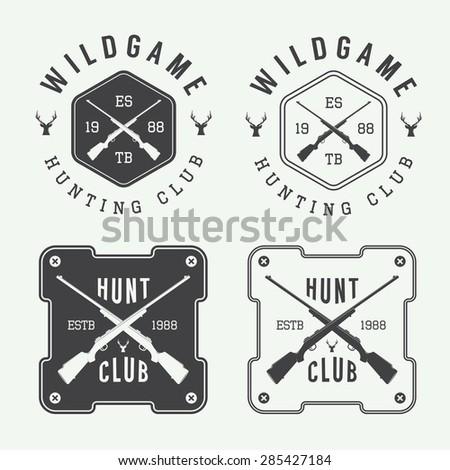 Set of vintage hunting labels, logo, badge and design elements. Vector illustration - stock vector