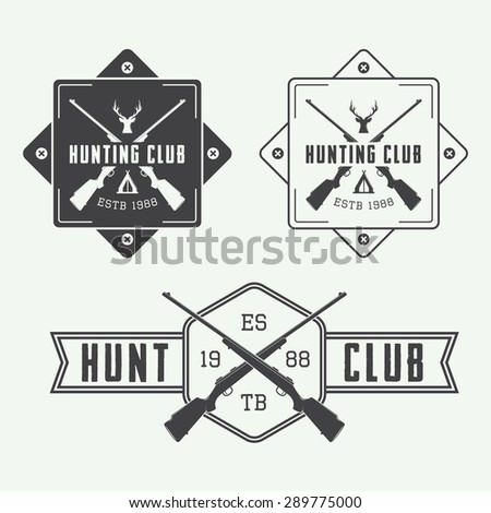 Set of vintage hunting labels, logo, badge and design elements. Vector illustration - stock vector