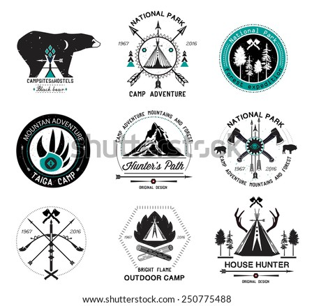 Set of vintage hunting labels. Set mountain hunting labels and design elements. Outdoor camp logo. Design elements for hunting. Wildlife sign. Indian wigwam logo. Crossed. Axes, bow, arrows logo. - stock vector