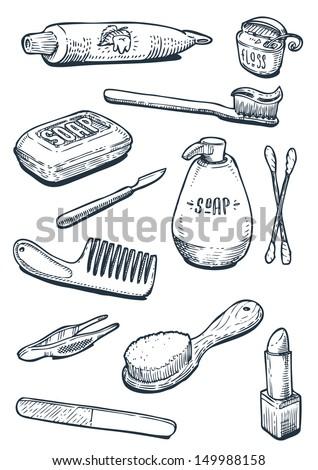 set of vintage hygiene tools - stock vector