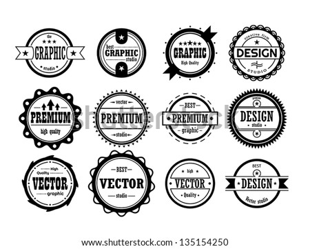 set of vintage icons - stock vector