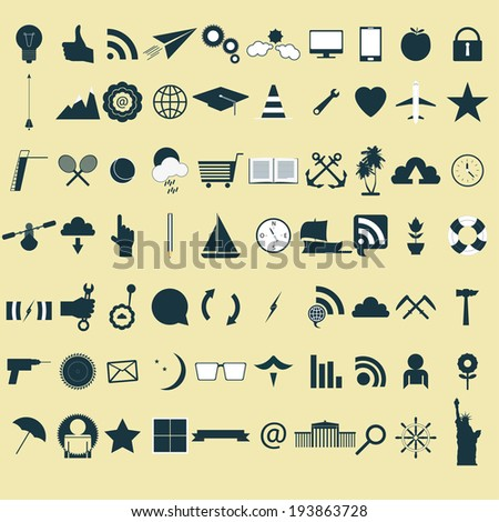 set of 70 vintage icons
