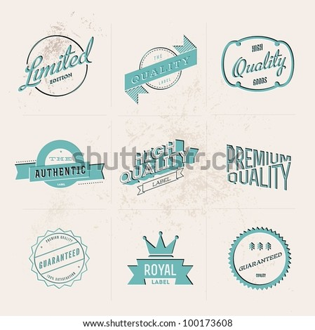 Set of vintage inspired embossed blue quality vector labels - stock vector