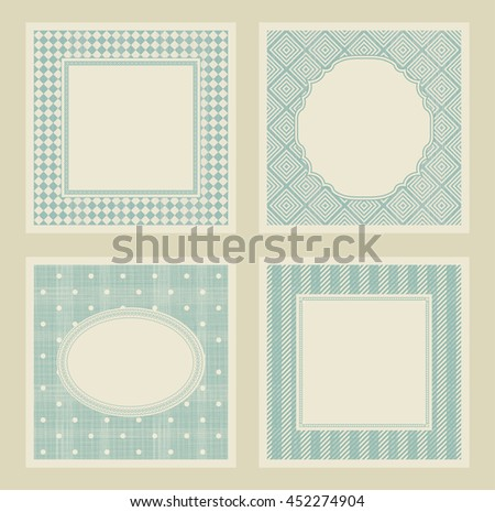 Set of 4 vintage invitation cards with abstract pattern.  Template greeting card, invitation and advertising banner, brochure with space for text. Can be use for wedding, birthday, baby shower, menu  - stock vector