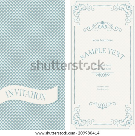 Set of vintage invitations on retro  background with blue hearts - stock vector