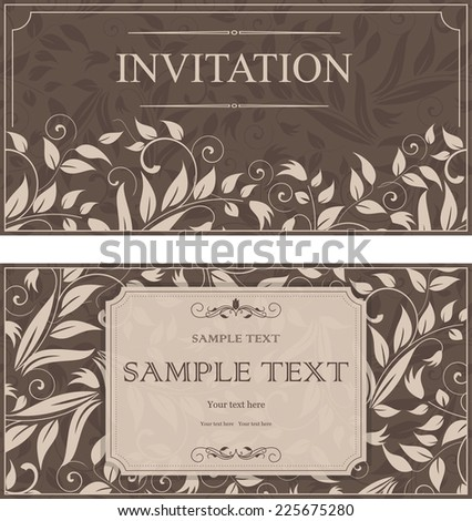 set of vintage invitations with beige victorian pattern on brown background - stock vector