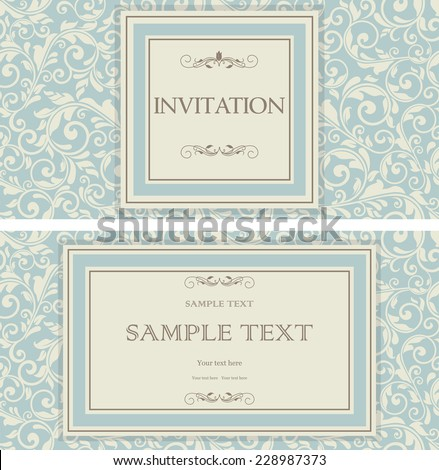 set of vintage invitations with victorian pattern