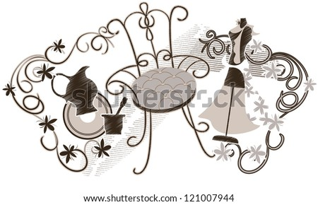 Set of vintage items: an old chair, a woman's dress on a mannequin, silhouette jug and  decorative garland of flowers - stock vector