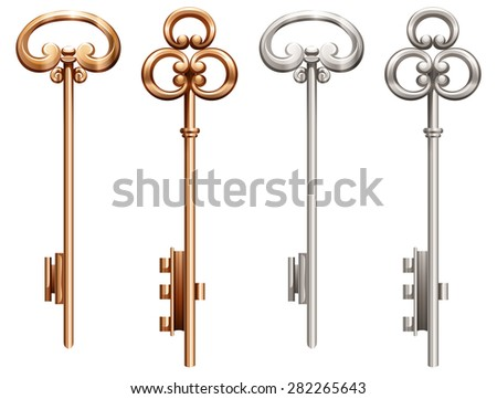 Set of vintage keys made of gold and silver