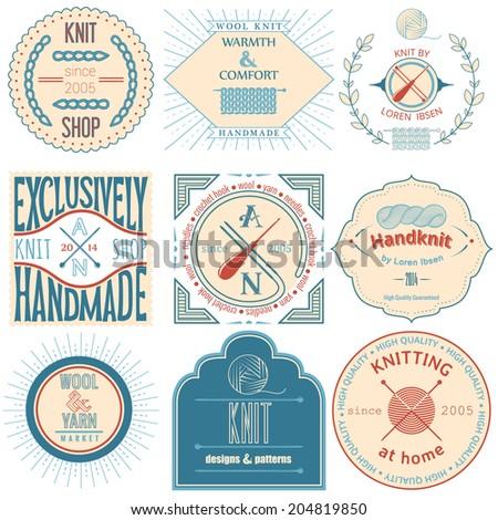 Set of vintage knitting labels, badges and design elements. Vector illustration - stock vector