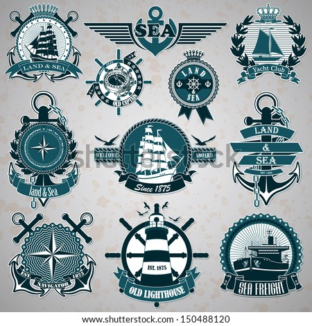 Set of vintage label with a nautical theme - stock vector