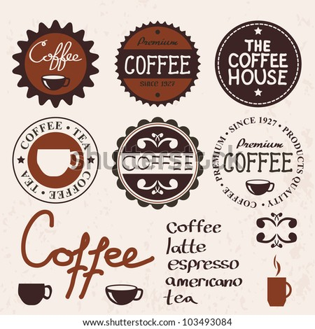 set of vintage labels and coffee items - stock vector
