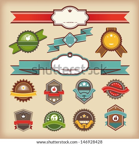 set of vintage labels and ribbons vector illustration - stock vector
