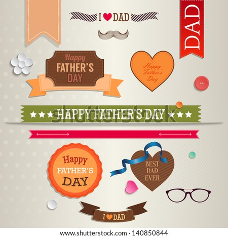 Set of vintage labels, badges and stickers for Father's day. Greeting card design - stock vector