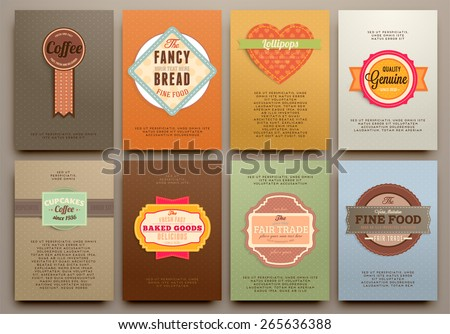 Set of Vintage Labels, Frames and Brochures. Vector Design Templates Collection for Banners, Flyers, Placards and Posters. Retro Backgrounds. - stock vector