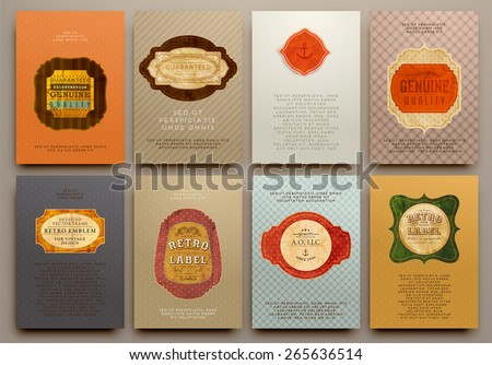 Set of Vintage Labels, Logo, Frames and Brochures. Vector Design Templates Collection for Banners, Flyers, Placards and Posters. Retro Backgrounds. - stock vector