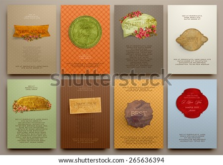 Set of Vintage Labels, Logo, Paper Frames, Flowers and Brochures. Vector Design Templates Collection for Banners, Flyers, Placards and Posters. Retro Backgrounds. - stock vector