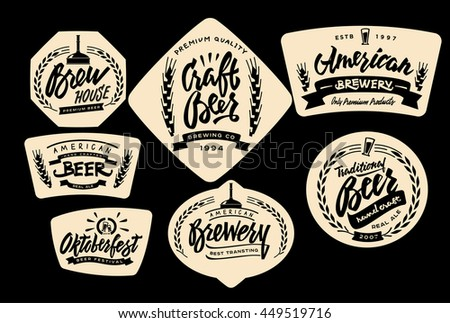 Set vintage labels logo templates beer stock vector for Classic house labels
