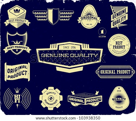 Set of vintage labels on the black. Collection 1 - stock vector