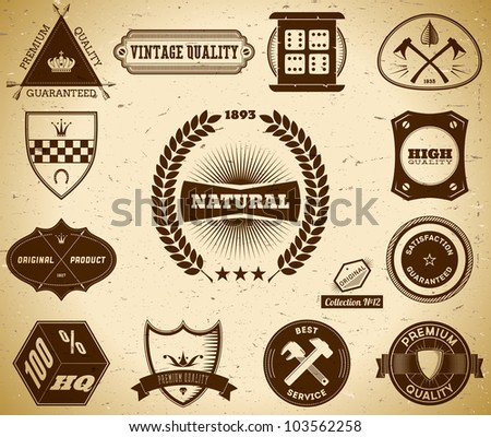 Set of vintage labels on the cardboard. Collection 12 - stock vector