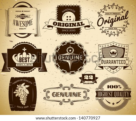 Set of vintage labels on the cardboard. Collection 22