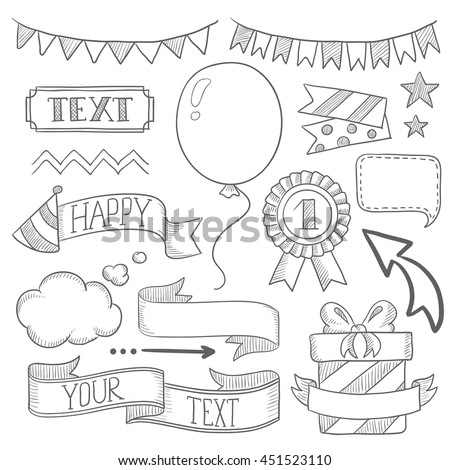Set vintage labels ribbons frames banners stock vector 451523110 set of vintage labels ribbons frames banners and elements for party or birthday stopboris Images