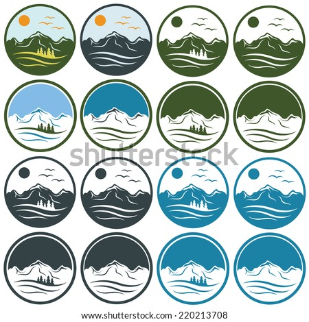 set of vintage labels with mountains ,pines,sun and birds - stock vector